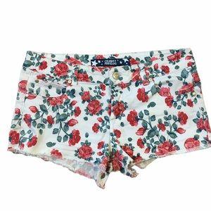 Celebrity Pink Rose Floral Cut Off Denim Shorts